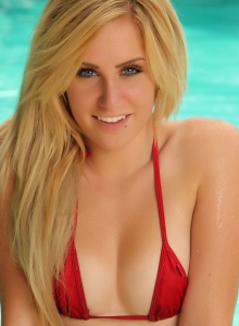 Perfect Blonde Ashley Vallone Strips Out Of Her Itty Bitty Red String Bikini Top At The Pool - Picture 4